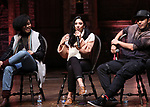 "Jennie Harney-Fleming, Lauren Boyd and Anthony Lee Medina during the eduHAM Q & A before The Rockefeller Foundation and The Gilder Lehrman Institute of American History sponsored High School student #EduHam matinee performance of ""Hamilton"" at the Richard Rodgers Theatre on November 20, 2019 in New York City."
