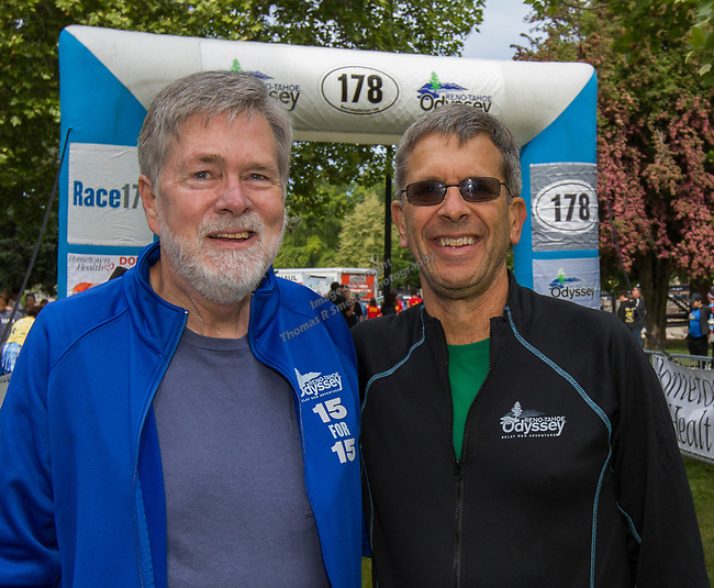 Mike Mahaffy, left has run all 15 Reno Tahoe Odysseys with Race Director Eric Lerude at the starting line of the 2019 Reno Tahoe Odyssey at Wingfield park in Reno on May 31, 2019.