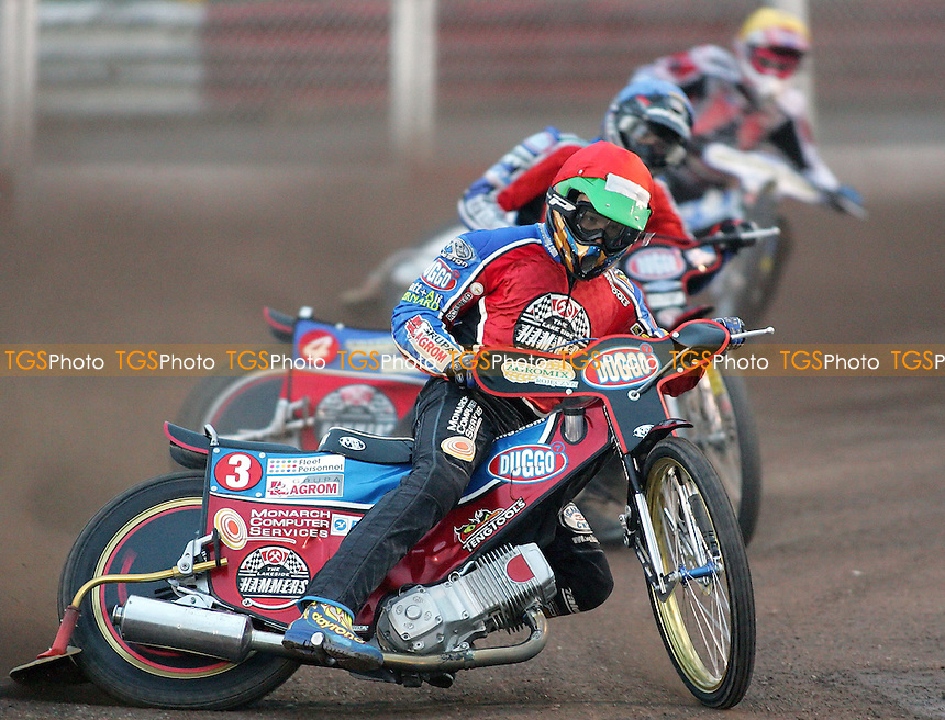 Heat 3 - Kasprzak (red), Hefenbrock, Doolan - Lakeside Hammers vs Belle Vue Aces - Elite League Knockout Cup, 1st Round 2nd Leg at Arena Essex - 04/05/07 - MANDATORY CREDIT: Gavin Ellis/TGSPHOTO - IMAGES USED WILL BE INVOICED AT STANDARD RATES..