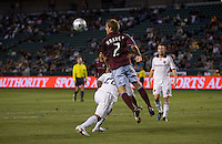 Colorado Rapids defender Jordan Harvey (2) clears a ball away from LA Galaxy forward Edson Buddle (14) in the ball in box. The Colorado Rapids defeated the LA Galaxy 1-0 during the preliminary rounds of the 2008 US Open Cup at Home Depot Center stadium in Carson, Calif., on Tuesday, May 27, 2008.