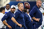 Dallas Cowboys head coach Jason Garrett in action during the pre-season game between the Tampa Bay Buccaneers and the Dallas Cowboys at the AT & T Stadium in Arlington, Texas.