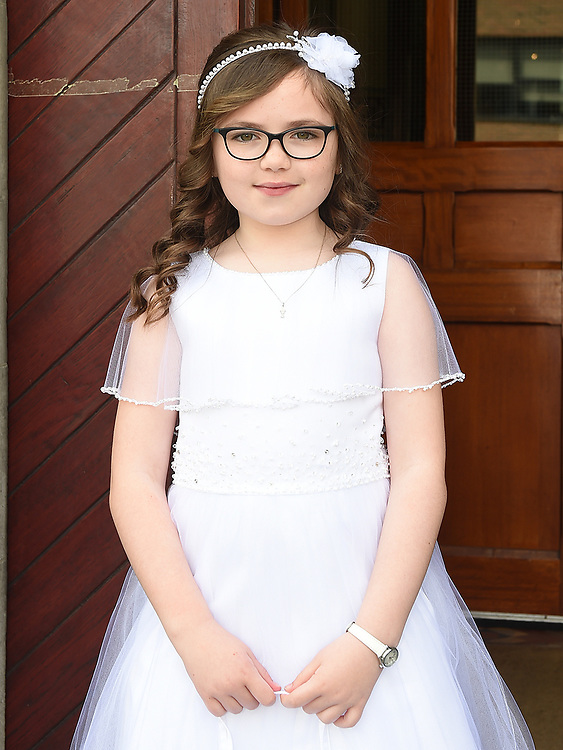 Isobel Wright from St. Mary's school who received First Holy Communion in St. Mary's church.  Photo:Colin Bell/pressphotos.ie