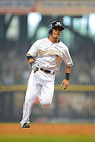 Milwaukee Brewers outfielder Norichika Aoki #7 during a game against the Minnesota Twins at Miller Park on May 27, 2013 in Milwaukee, Wisconsin.  Minnesota defeated Milwaukee 6-3.  (Mike Janes/Four Seam Images)