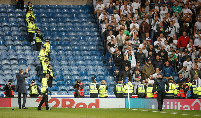 29.08.2019 Rangers v Legia Warsaw: Steven Gerrard walks across to applaud the Legia fans after the match