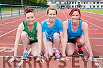 Catherine O'sullivan Riocht, Linda O'sullivan, and Chella Vamossy St Brendans  at the Kerry Senior Track and Field Championships in Castleisland on Sunday