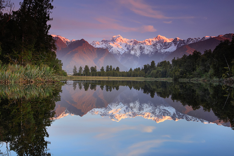 Mount Cook / Aoraki & Mount Tasman reflected in Lake Matheson, Westland National Park. South Island, New Zealand - stock photo, canvas, fine art print