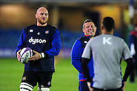 Matt Garvey of Bath Rugby and first team coach Toby Booth during the pre-match warm-up. European Rugby Challenge Cup match, between Bath Rugby and Bristol Rugby on October 20, 2016 at the Recreation Ground in Bath, England. Photo by: Patrick Khachfe / Onside Images