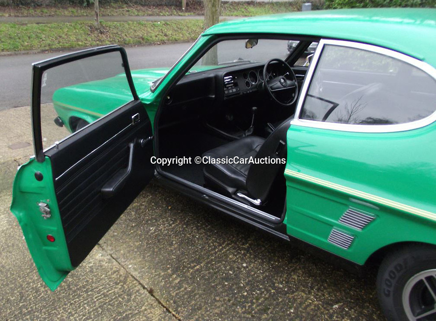 BNPS.co.uk (01202)558833<br /> Pic: ClassicCarAuctions/BNPS<br /> <br /> Mint interior.<br /> <br /> £60,000 for a 1974 Ford Capri anyone??<br /> <br /> A rare time warp Ford Capri that is thought to be one of just 50 of its kind left in the UK has emerged for sale for a world-record £60,000.<br /> <br /> The highly desirable RS3100 dates back to 1974 and was built as a road-legal version of Ford's entry into European Touring Car racing.<br /> <br /> Only a handful were ever built in order to meet racing regulations and they now rank among the rarest of all 'Fast Fords'.