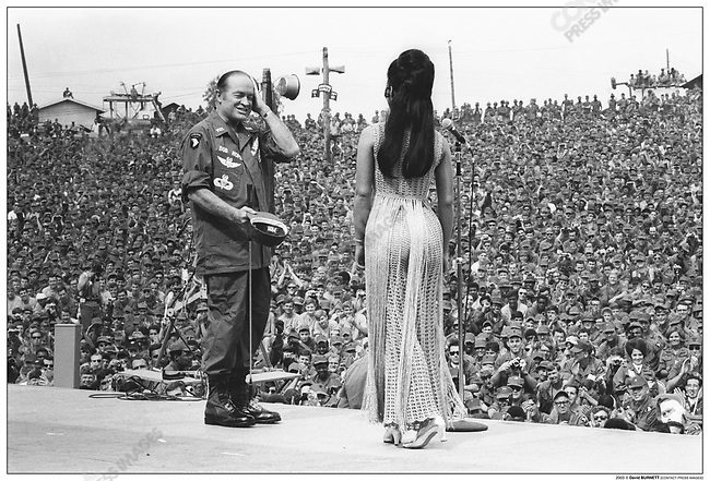 Bob HOPE, entertaining US troops at his Christmas show, Phu Bai, Vietnam, December 1970.