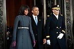 President Barack Obama and first lady Michelle Obama leave the US Capitol during the inauguration, January 21, 2013 in Washington, D.C.