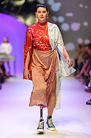 MELBOURNE - September 5, 2019: A model wearing LEO & LIN walks at the Town Hall Runway 7 show during Melbourne Fashion Week in Melbourne, Australia. Photo Sydney Low
