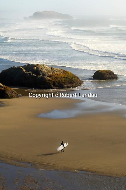 Surfer at Bandon Beach, OR
