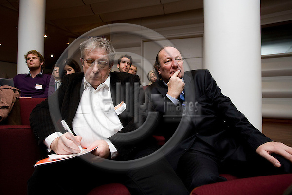 BRUSSELS - BELGIUM - 01 DECEMBER 2009 -- Conference: Online content and creative rights -- From left Frank Dostal, Deutscher Textdichter-Verband, and Joerg Evers, Chairman Board of Supervisors, GEMA, listening to the conference. PHOTO: ERIK LUNTANG / EUP-IMAGES