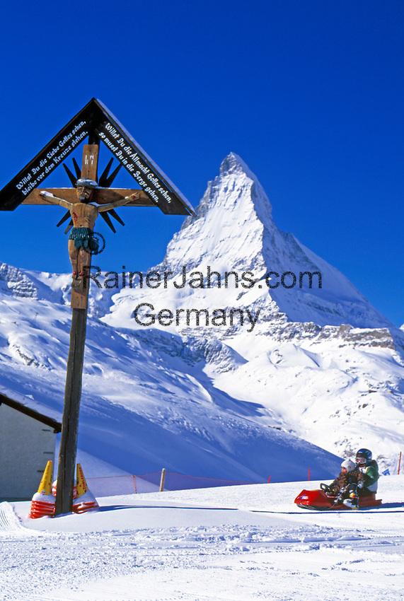 Switzerland, Valais, Zermatt: Children's Ski Playground Riffelberg, Sledging and Matterhorn Mountain