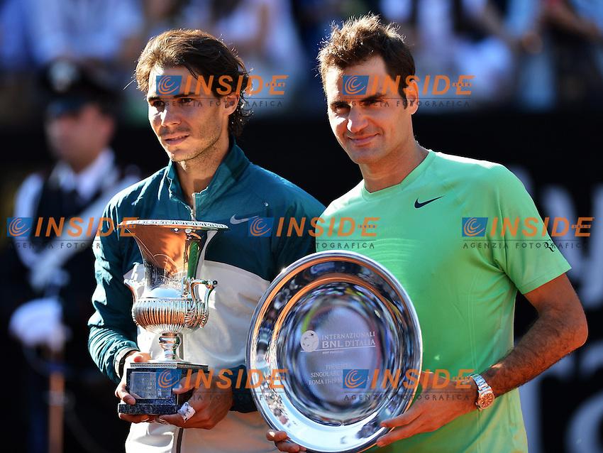 Il vincitore Rafael Nadal Spagna e Roger Federer Svizzera.The Winner Rafael Nadal Spain and Roger Federer Switzerland .Roma 19/05/2013 Foro Italico .Tennis Internazionali d'Italia 2013 .Finale Final .Foto Andrea Staccioli Insidefoto