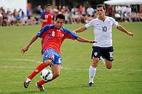 David Alberto Guzman (8) of Costa Rica is trailed by Dilly Duka (10) of the USA. The US U-20 Men's National Team defeated the U-20 Men's National Team of Costa Rica 2-1 in an international friendly during day four of the US Soccer Development Academy  Spring Showcase in Sarasota, FL, on May 25, 2009.