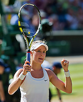 England, London, 28.06.2014. Tennis, Wimbledon, AELTC, Semifinal match between Eugenie Bouchard and Simone Halep, Pictured: Eugenie Bouchard (CAN) in jubilation after her win.<br /> Photo: Tennisimages/Henk Koster