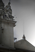.Black smoke  the chimney  of the Sistine Chapel  in the second ballot of  conclave on March 13, 2013 at the Vatican.