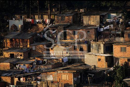 Sao Paulo, Brazil. Favela shanty town with rough brick shacks.