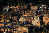 Sao Paulo, Brazil. Favela shanty town with rough brick shacks.