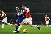 29th January 2019, Emirates Stadium, London, England; EPL Premier League Football, Arsenal versus Cardiff City; Mesut Ozil of Arsenal holds off Harry Arter of Cardiff City