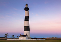 Cape Hatteras National Seashore, North Carolina: Bodie Island Lighthouse (1872) at dusk on North Carolina's Outer Banks