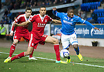 St Johnstone v Aberdeen.....07.12.13    SPFL<br /> Nigel Hasselbaink and Michael Hector<br /> Picture by Graeme Hart.<br /> Copyright Perthshire Picture Agency<br /> Tel: 01738 623350  Mobile: 07990 594431