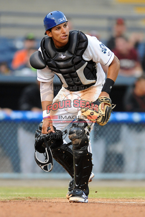 Asheville Tourists catcher Jose Briceno #4 during a game against the Delmarva Shorebirds at McCormick Field on April 4, 2014 in Asheville, North Carolina. The Shorebirds defeated the Tourists 7-2. (Tony Farlow/Four Seam Images)