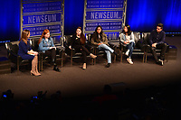 Washington, DC - March 23, 2018: Student journalists from Marjory Stoneman Douglas High School in Parkland, Florida participate in a panel discussion, moderated by CBS correspondent Margaret Brennan, at the Newseum in Washington, D.C. March 23, 2018. The students recounted their experiences in covering the shooting tragedy at their school for The Eagle Eye newspaper. L-R: Margaret Brennan, Emma Dowd, Rebecca Schneid, Nikhita Nookala, Christy Ma, Kevin Trejos.  (Photo by Don Baxter/Media Images International)