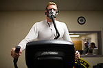 "U2 pilot Major Eric Shontz warms up on oxygen before a ""high-flight"" at Beale Air Force Base February 24, 2010 in Linda, Calif."