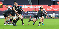 Ospreys' Rhys Webb passes the ball away from a line out.<br /> <br /> Photographer Dan Minto/CameraSport<br /> <br /> Guinness Pro14 Round 13 - Ospreys v Cardiff Blues - Saturday 6th January 2018 - Liberty Stadium - Swansea<br /> <br /> World Copyright &copy; 2018 CameraSport. All rights reserved. 43 Linden Ave. Countesthorpe. Leicester. England. LE8 5PG - Tel: +44 (0) 116 277 4147 - admin@camerasport.com - www.camerasport.com