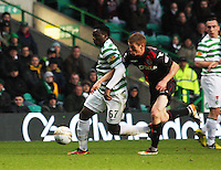 Victor Wanyama being pressured by Jon Robertson in the Celtic v St Mirren Clydesdale Bank Scottish Premier League match played at Celtic Park, Glasgow on 15.12.12.