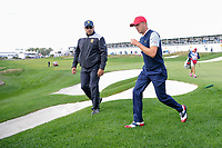 Justin Thomas (USA) departs 14 during round 3 Foursomes of the 2017 President's Cup, Liberty National Golf Club, Jersey City, New Jersey, USA. 9/30/2017.<br /> Picture: Golffile | Ken Murray<br /> <br /> All photo usage must carry mandatory copyright credit (&copy; Golffile | Ken Murray)