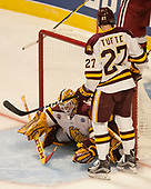 Parker Mackay (UMD - 39), Riley Tufte (UMD - 27) - The University of Minnesota Duluth Bulldogs defeated the Harvard University Crimson 2-1 in their Frozen Four semi-final on April 6, 2017, at the United Center in Chicago, Illinois.