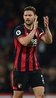 Bournemouth's skipper Bournemouth's Simon Francis applause the fans at the final whistle after their 2-0 victory over Brighton & Hove Albion<br /> <br /> Photographer David Horton/CameraSport<br /> <br /> The Premier League - Bournemouth v Brighton and Hove Albion - Saturday 22nd December 2018 - Vitality Stadium - Bournemouth<br /> <br /> World Copyright © 2018 CameraSport. All rights reserved. 43 Linden Ave. Countesthorpe. Leicester. England. LE8 5PG - Tel: +44 (0) 116 277 4147 - admin@camerasport.com - www.camerasport.com