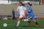 Torrance, CA 02/08/10 - Lauren Kai (West #18) drives the ball towards Leuzinger's goal as Serena Gonzalez (Leuzinger #3) tries to keep pace.