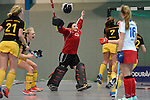 Mannheim, Germany, January 24: Rosa Krueger #32 of Harvestehuder THC celebrates after winning the 1. Bundesliga Damen Hallensaison 2014/15 quarter-final hockey match between Mannheimer HC (white) and Harvestehuder THC (black) on January 24, 2015 at Irma-Roechling-Halle in Mannheim, Germany. Final score 2-3 (2-2). (Photo by Dirk Markgraf / www.265-images.com) *** Local caption *** Rosa Krueger #32 of Harvestehuder THC