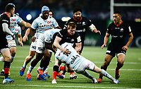 17th November 2019,  Paris La Défense Arena, Hauts-de-Seine, France; Champions Cup Rugby Union, Racing 92 versus Saracens;  B Earl (Saracens ) tackles Finn RUSSELL (Racing )