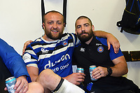 Tom Dunn and Jameson Mola of Bath Rugby pose for a photo in the changing rooms after the match. Gallagher Premiership match, between Leicester Tigers and Bath Rugby on May 18, 2019 at Welford Road in Leicester, England. Photo by: Patrick Khachfe / Onside Images