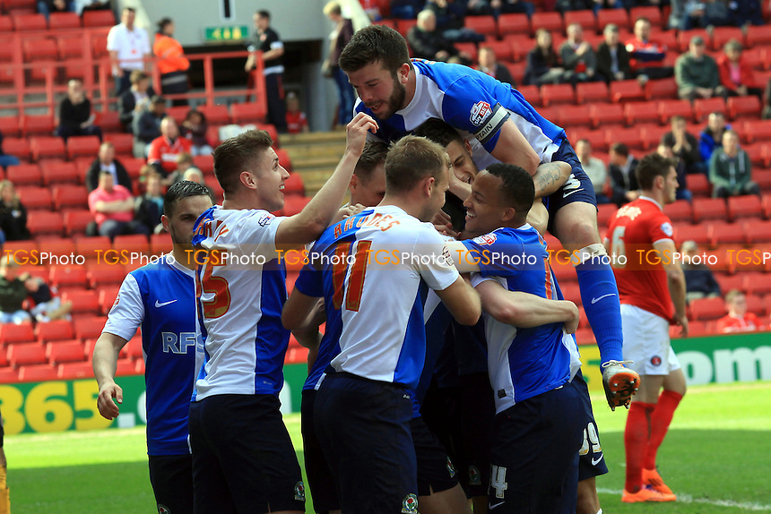 Grant Hanley jumps on the back of Blackburn's Michael Keane after the Manchester United loanee scored the second goal - Charlton Athletic vs Blackburn Rovers - Sky Bet Championship Football at The Valley, London - 26/04/14 - MANDATORY CREDIT: Paul Dennis/TGSPHOTO - Self billing applies where appropriate - 0845 094 6026 - contact@tgsphoto.co.uk - NO UNPAID USE