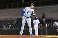 Surprise Saguaros starting pitcher Scott Blewett (32), of the Kansas City Royals organization, looks in for the sign during an Arizona Fall League game against the Scottsdale Scorpions at Scottsdale Stadium on October 15, 2018 in Scottsdale, Arizona. Surprise defeated Scottsdale 2-0. (Zachary Lucy/Four Seam Images)