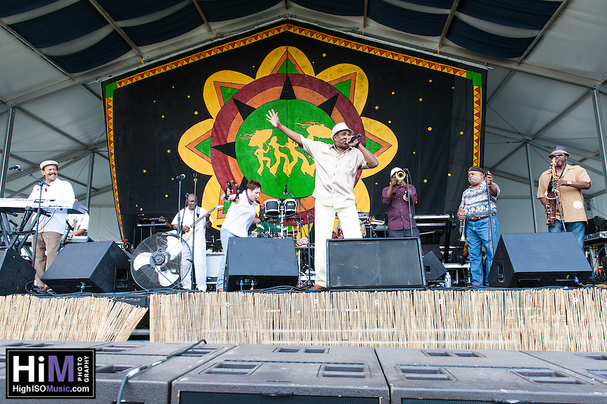 Reggie Hall and the Twilighters perform at the 2014 Jazz and Heritage Festival in New Orleans, LA.