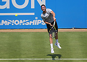 June 19th 2017, Queens Club, West Kensington, London; Aegon Tennis Championships, Day Adrian Mannarino of France serving the ball during his game against Jo-Wilfried Tsonga of France