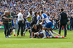 Bristol Rovers celebrate victory during the 2015 Vanarama Conference Promotion Final match between Grimsby Town and Bristol Rovers at Wembley Stadium, London<br /> Picture by David Horn/eXtreme aperture photography +44 7545 970036<br /> 17/05/2015
