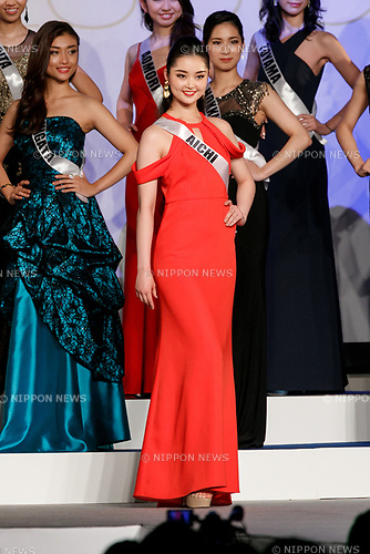 Miss Aichi, Miku Makino, competes in an evening gown during Miss Universe Japan competition at Hotel Chinzanso Tokyo on July 4, 2017, Tokyo, Japan. Momoko Abe from Chiba who won the title will represent Japan in the next Miss Universe competition. (Photo by Rodrigo Reyes Marin/AFLO)