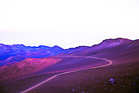 Sliding sands trail at twilight inside of Haleakala crater, Maui