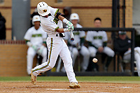 San Jacinto Gators outfielder D.J. Stephens (2) in action against the Bossier Parish Community College Cavaliers at Harrison Field on February 2, 2018 in Houston, TX. (Erik Williams/Four Seam Images)