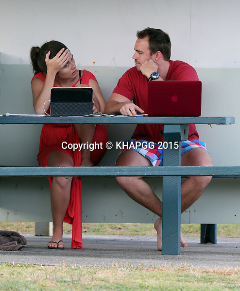 **EXCLUSIVE**<br /> <br /> Heather Maltman and boyfriend Andrew Steele spotted all loved up whilst working.