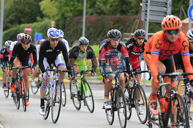 The peloton including Philippe Gilbert (BEL) BMC Racing speed through Calco during the last classic of the season Il Lombardia 2015 running 245km from Bergamo to Como, Italy. 4th October 2015.<br /> Picture: Eoin Clarke | Newsfile