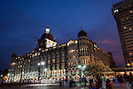 MUMBAI, INDIA - SEPTEMBER 27, 2010: The facade of the Taj Mahal Palace and Tower Hotel in Mumbai seen from the Gateway to India. The hotel  has re-opened after the terror attacks of 2008 destroyed much of the heritage wing. The wing has been renovated and the hotel is once again the shining jewel of Mumbai. pic Graham Crouch